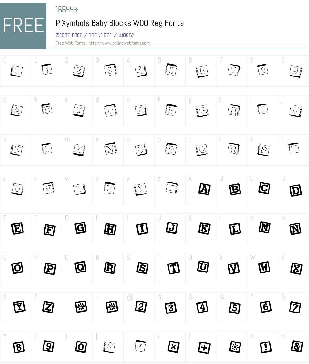 PIXymbolsBabyBlocksW00-Reg Font Screenshots