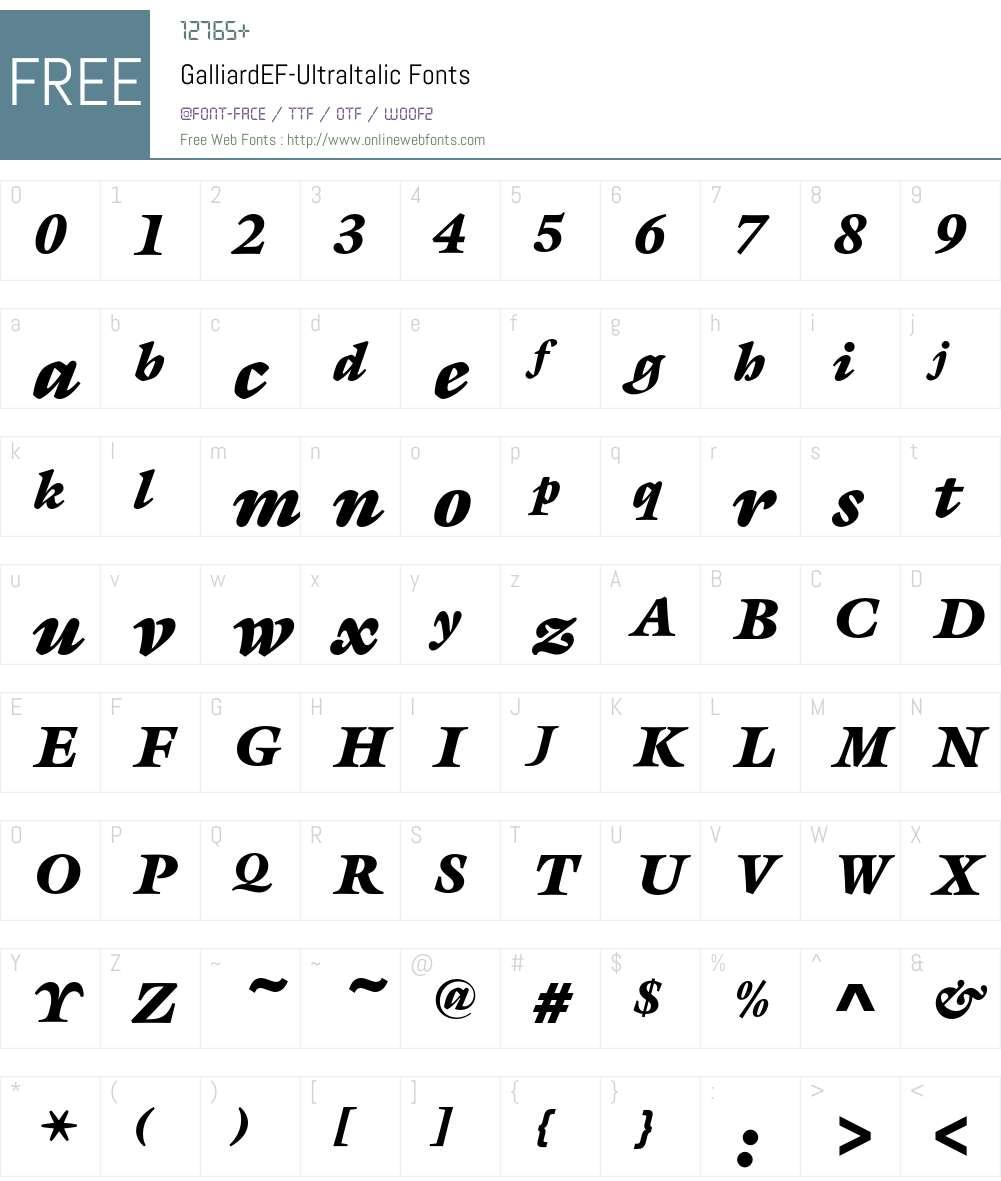 GalliardEF-UltraItalic Font Screenshots