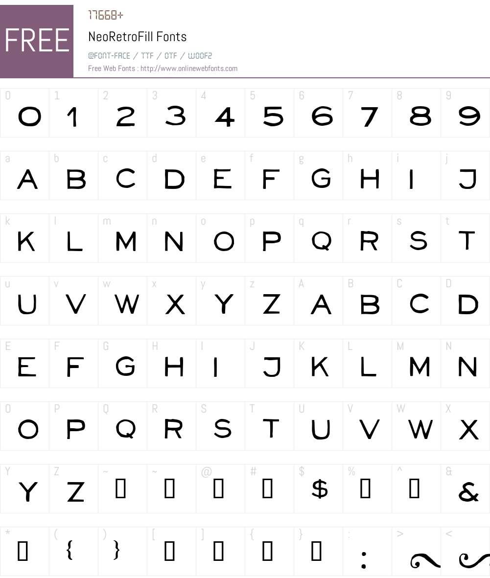 NeoRetroFill Font Screenshots