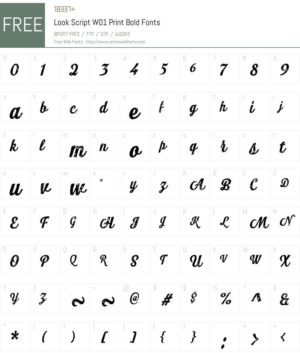 LookScriptW01-PrintBold Font Screenshots