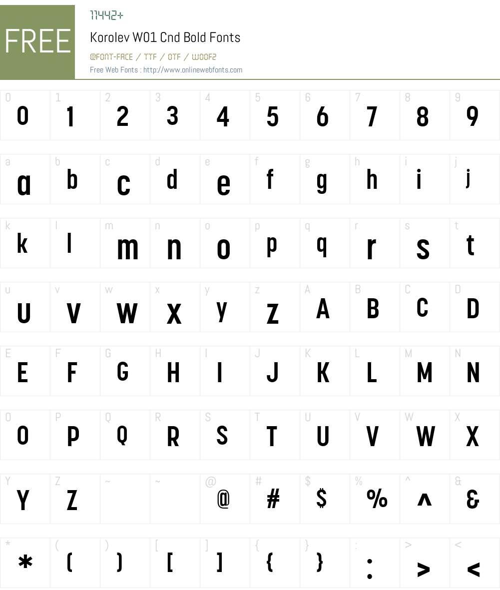 KorolevW01-CndBold Font Screenshots