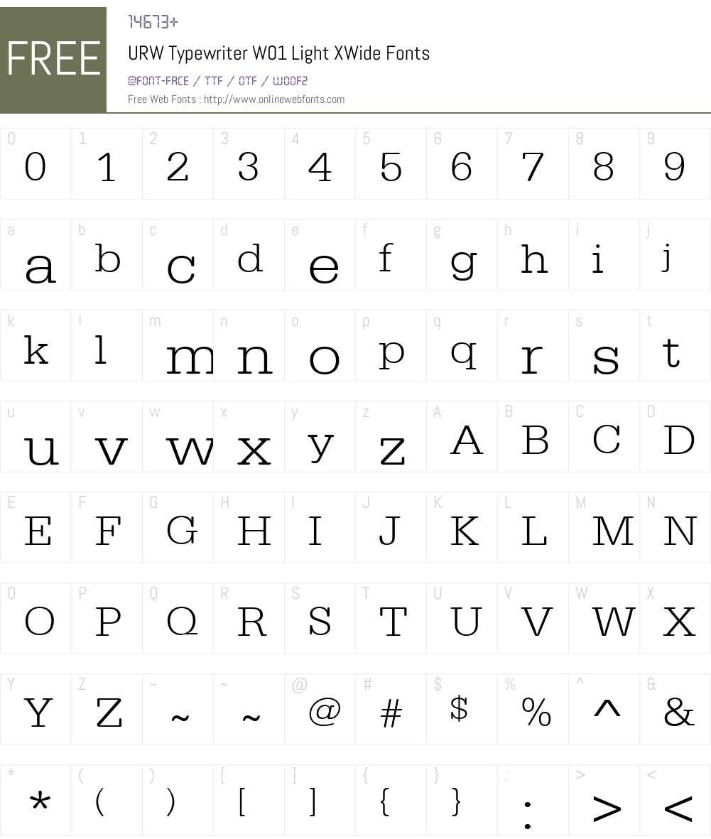 URWTypewriterW01-LightXWide Font Screenshots