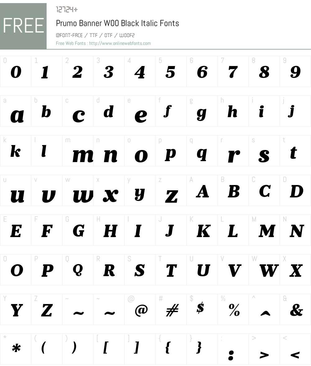PrumoBannerW00-BlackItalic Font Screenshots