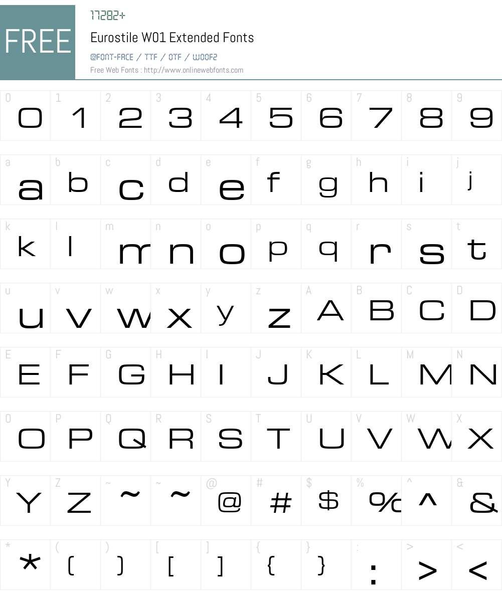 EurostileW01-Extended Font Screenshots