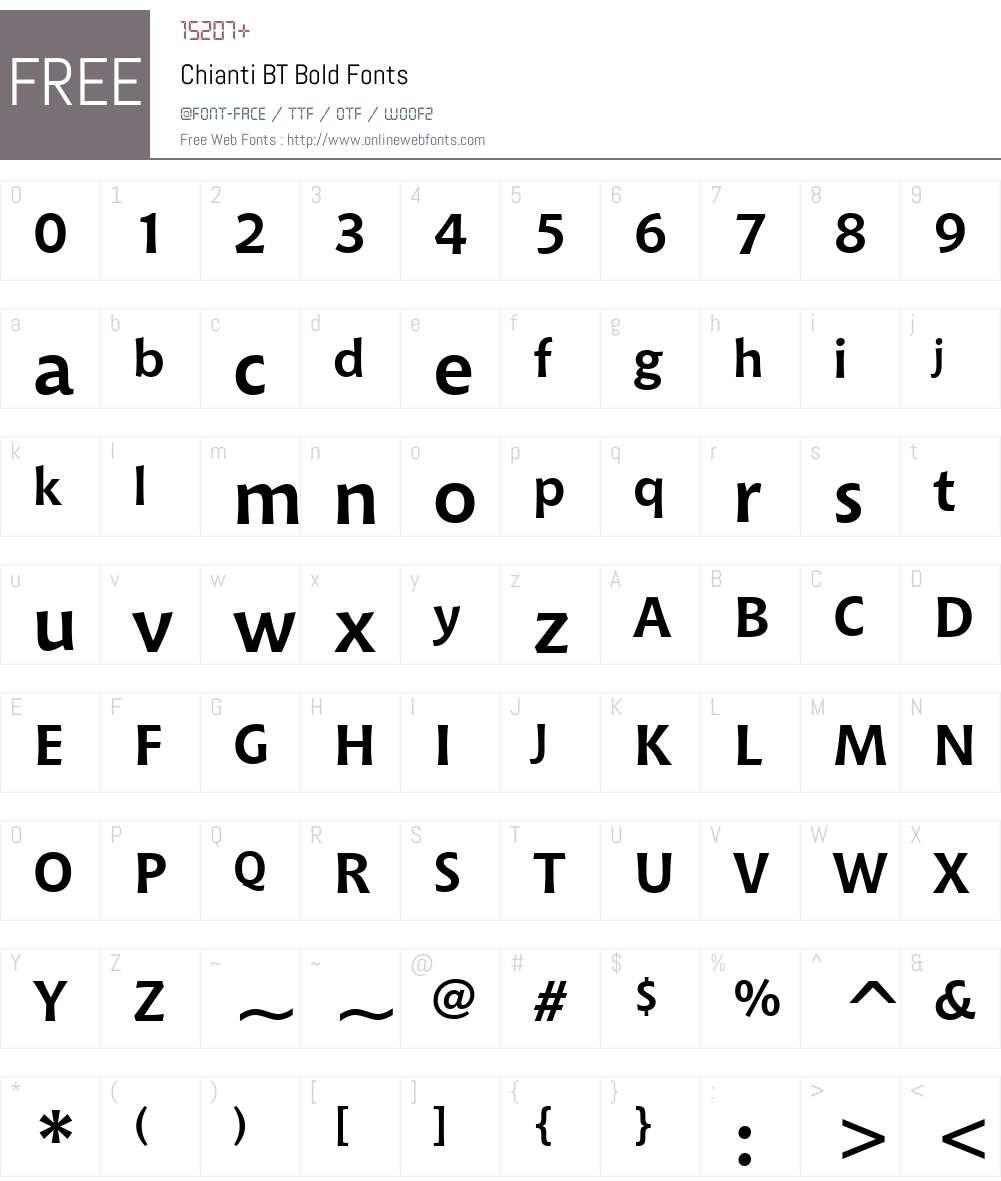 Chianti BT Font Screenshots