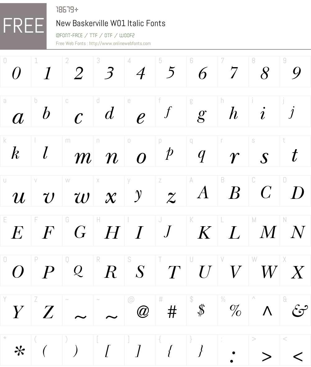 NewBaskervilleW01-Italic Font Screenshots