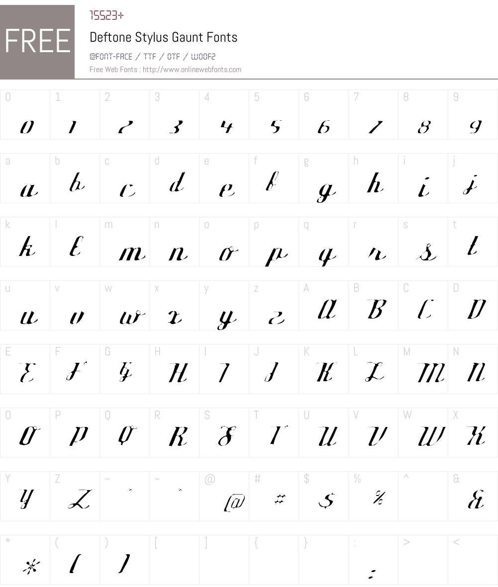Deftone Stylus Gaunt Font Screenshots