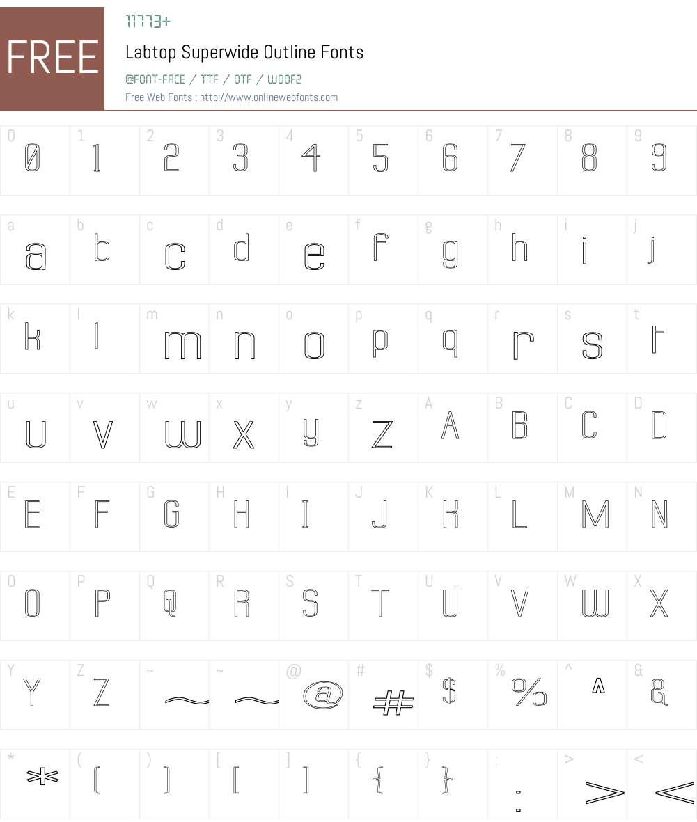 Labtop Superwide Outline Font Screenshots