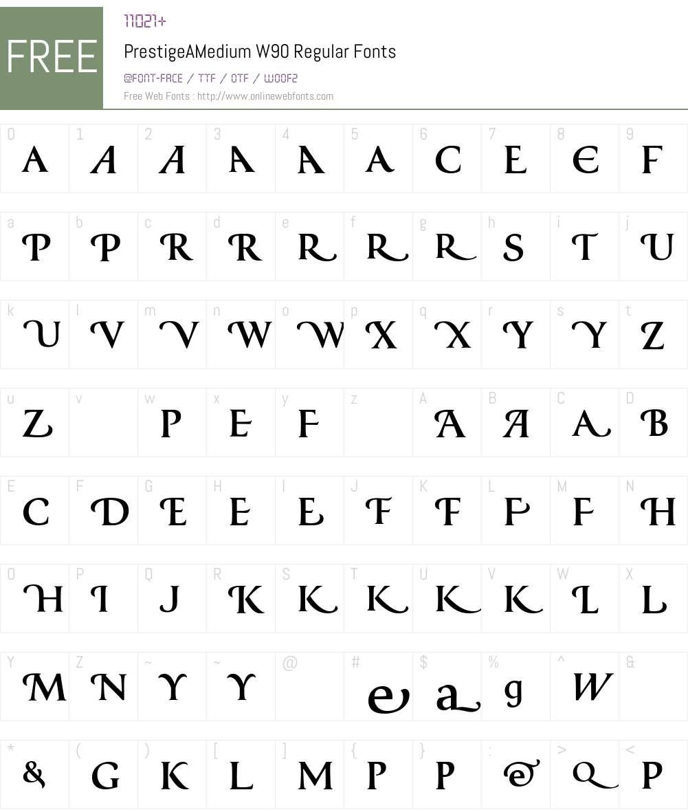 PrestigeAMediumW90-Regular Font Screenshots
