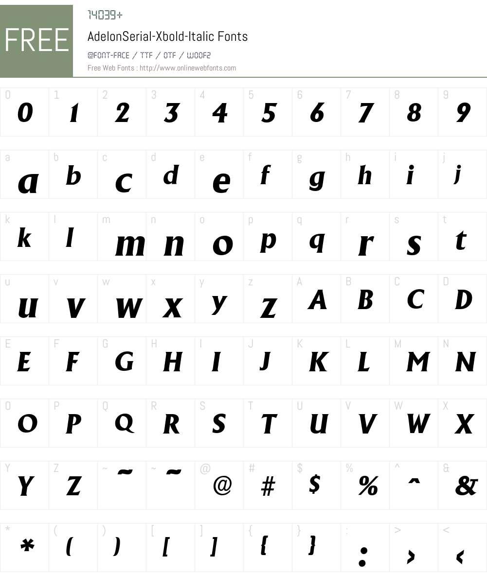 AdelonSerial-Xbold Font Screenshots