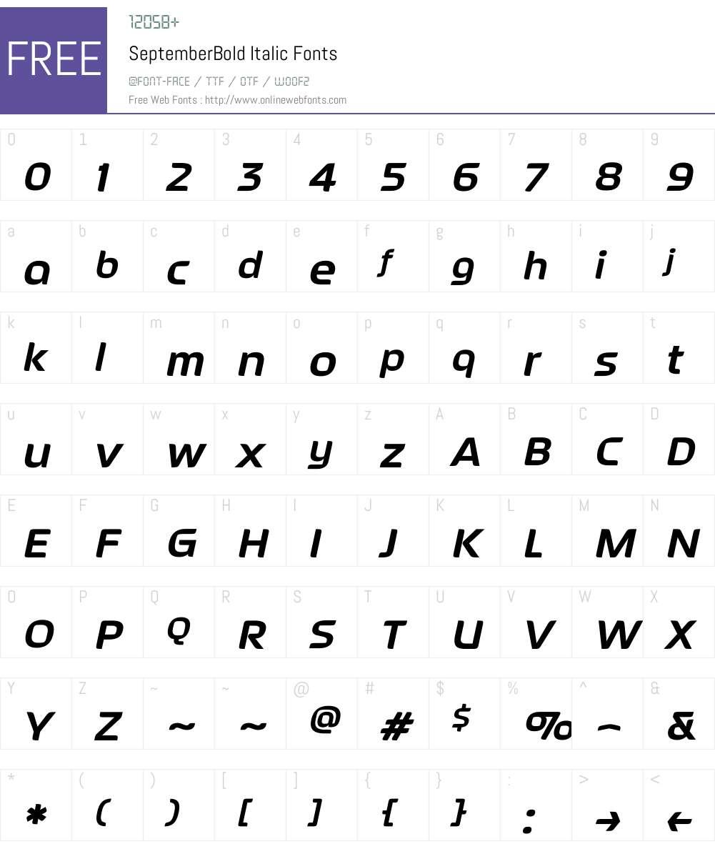 SeptemberBold Italic Font Screenshots