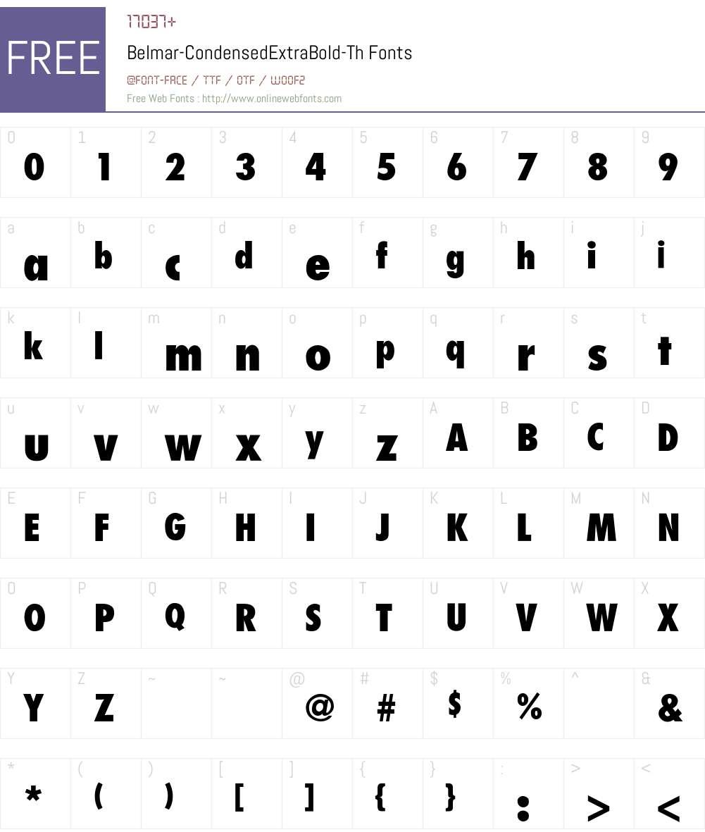 Belmar-CondensedExtraBold-Th Font Screenshots