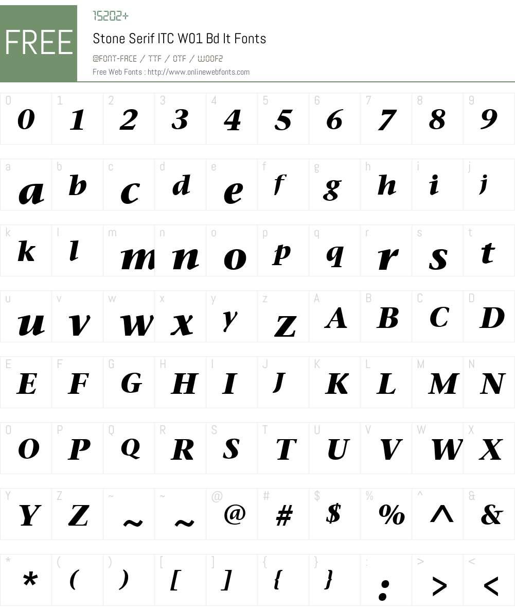 StoneSerifITCW01-BdIt Font Screenshots