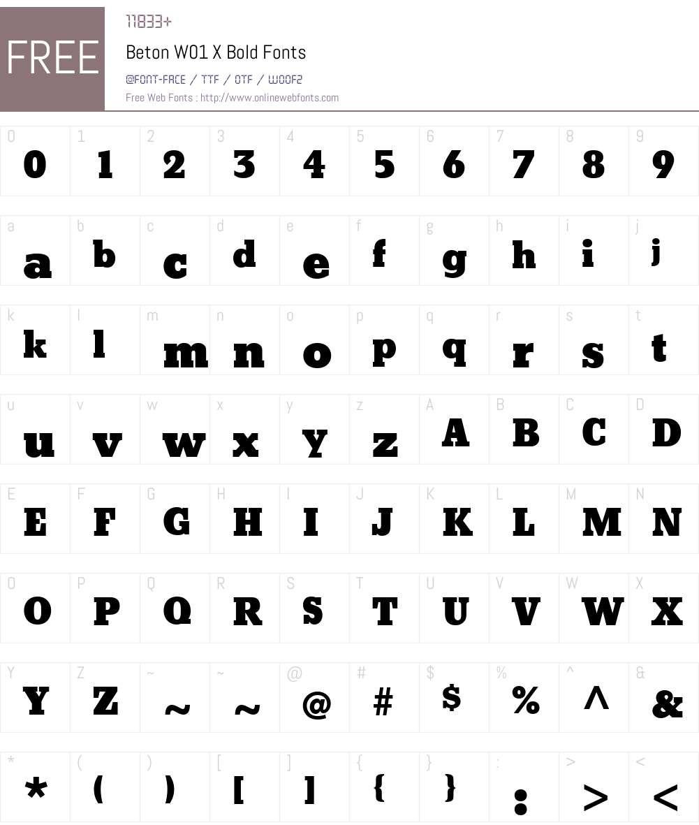 BetonW01-XBold Font Screenshots