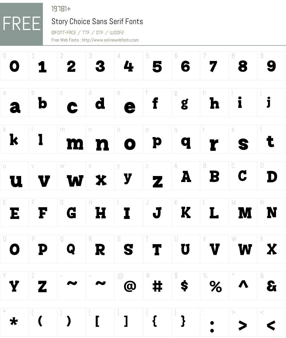 Story Choice Sans Serif Font Screenshots