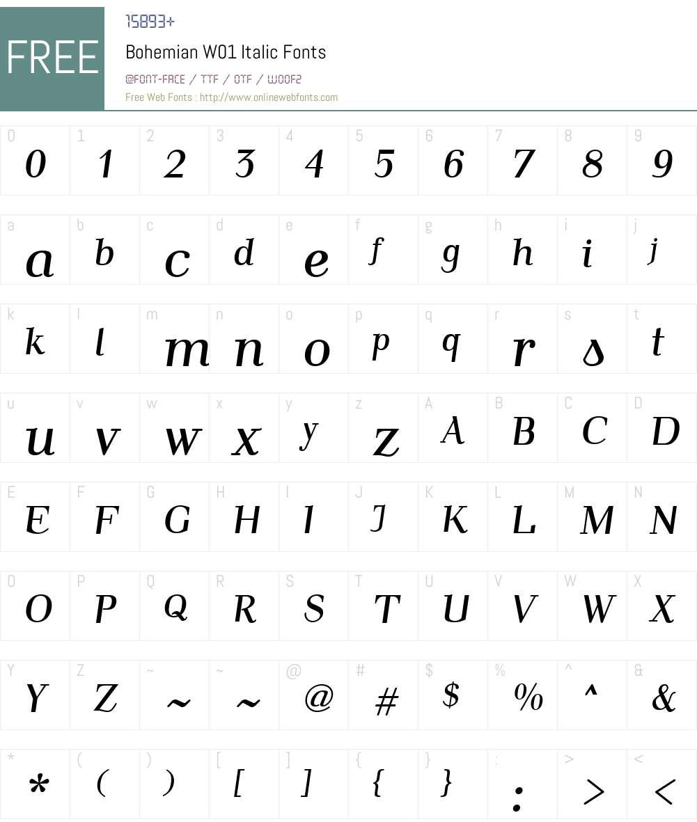 BohemianW01-Italic Font Screenshots