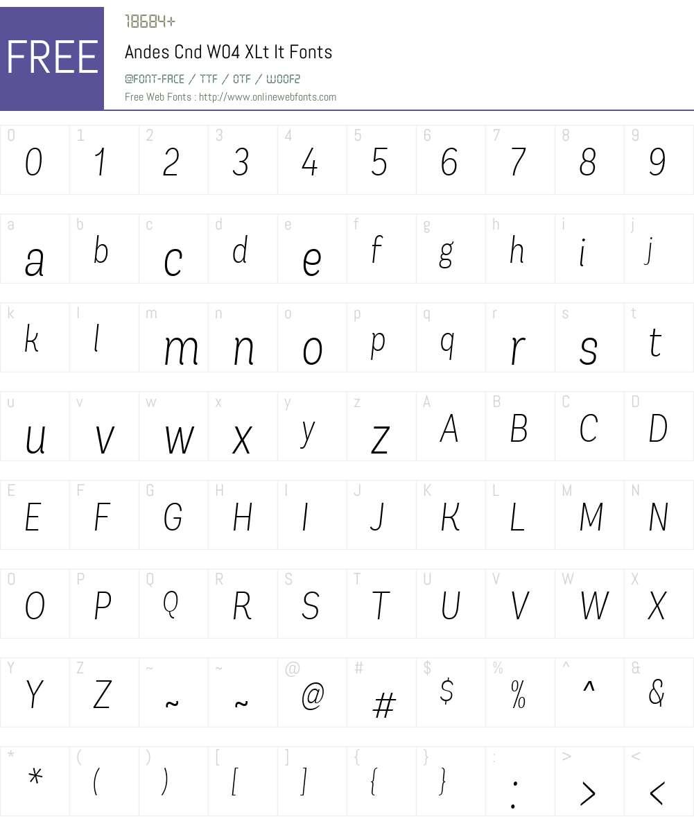 AndesCndW04-XLtIt Font Screenshots