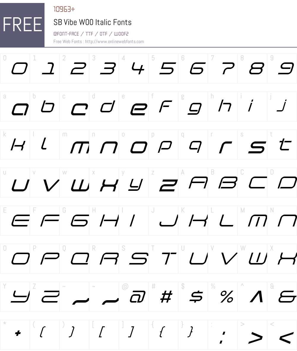 SBVibeW00-Italic Font Screenshots