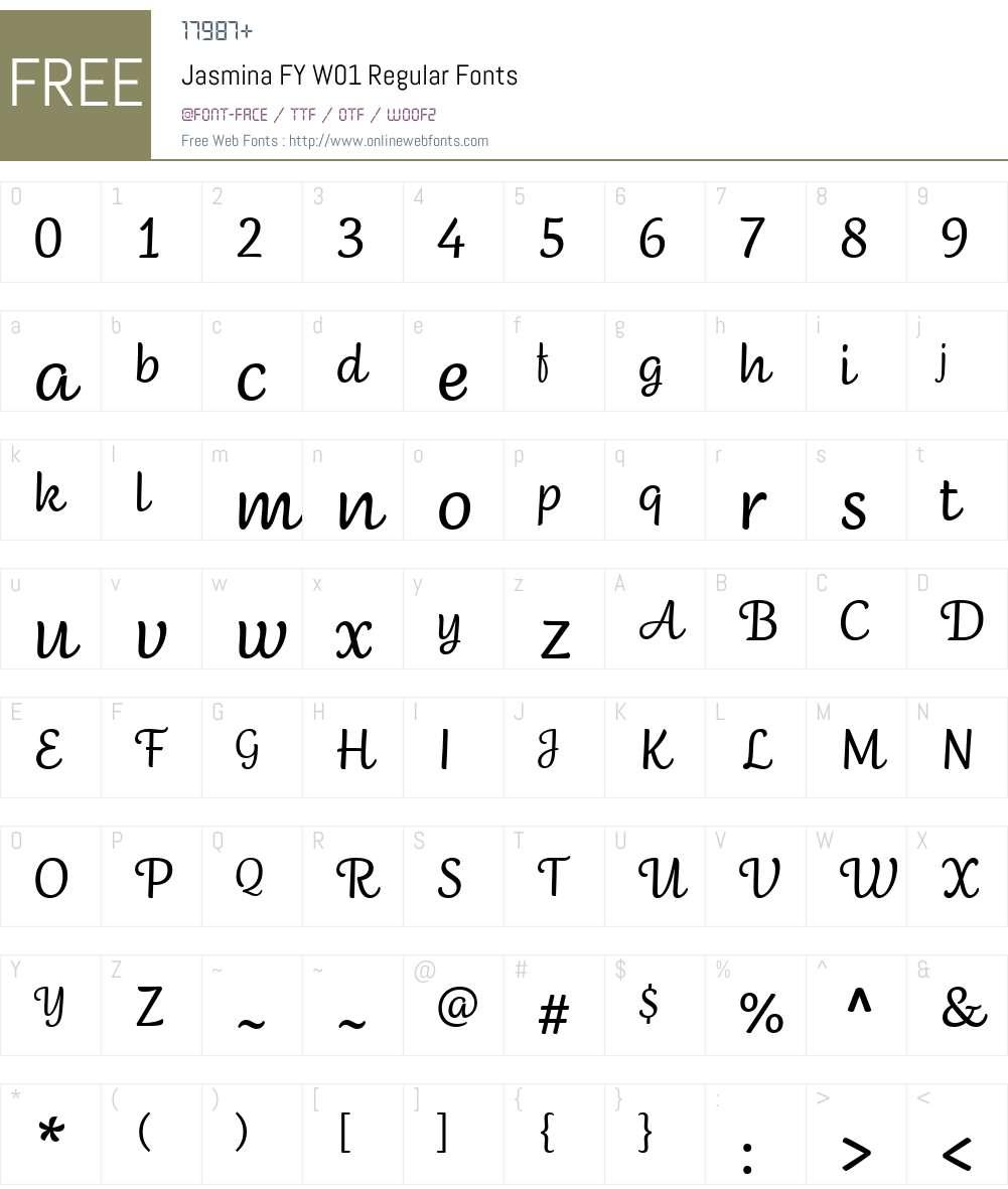 JasminaFYW01-Regular Font Screenshots