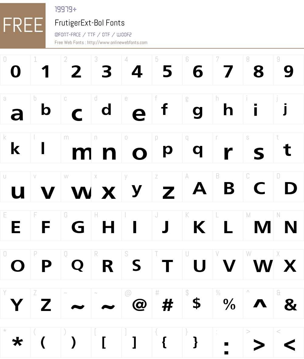 FrutigerExt-Bol Font Screenshots