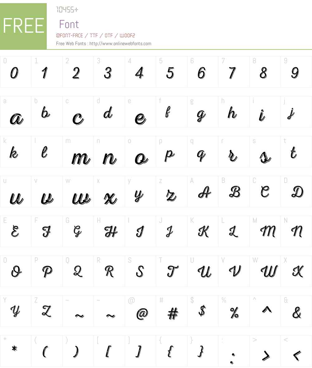 NexaRustScriptLW-Shadow Font Screenshots