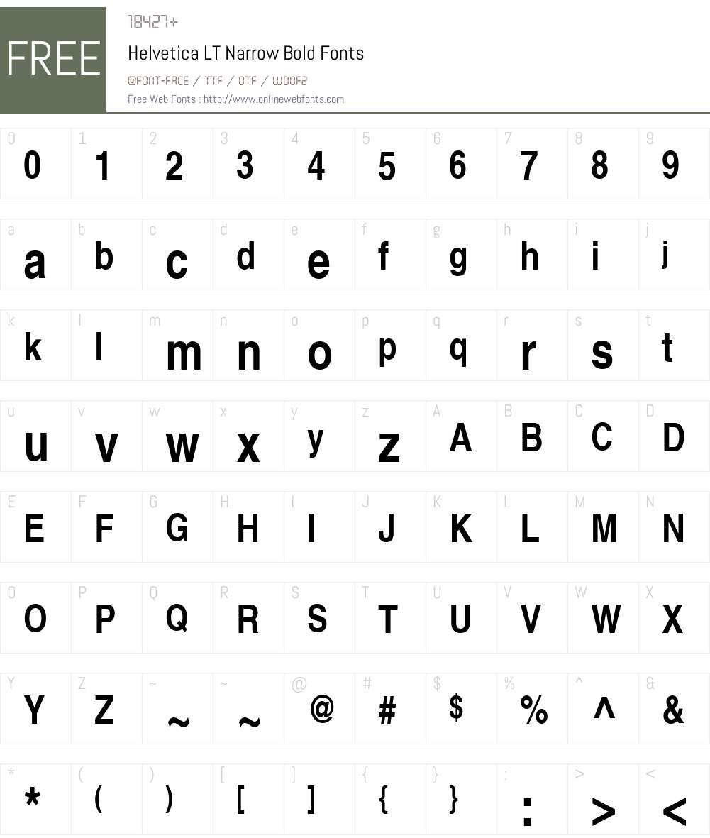 Helvetica LT Narrow Font Screenshots