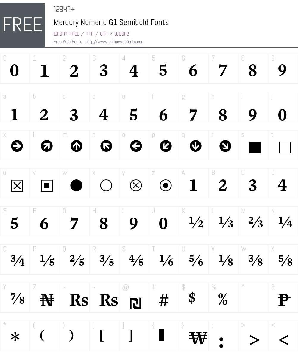 Mercury Numeric G1 Font Screenshots