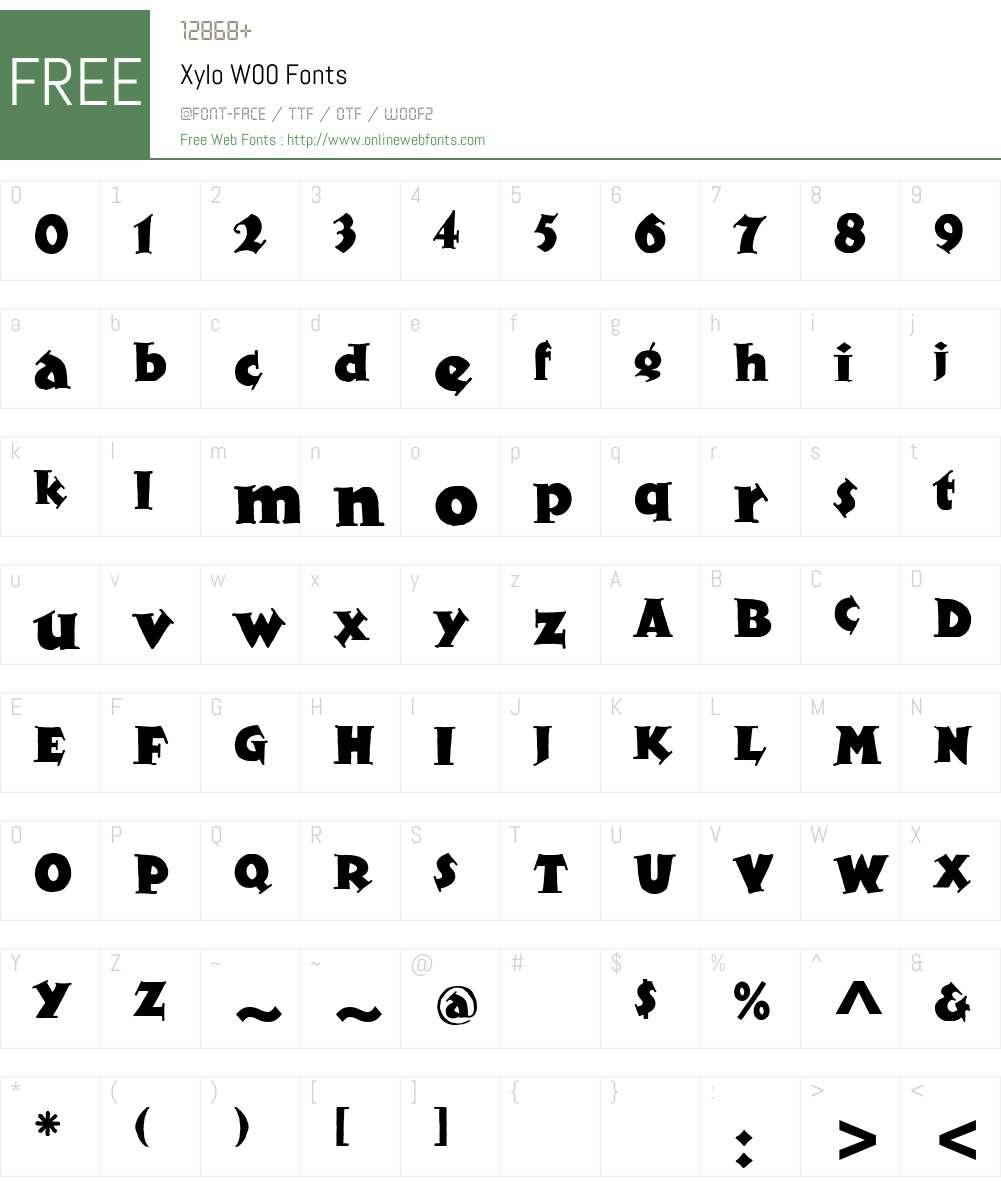 XyloW00 Font Screenshots