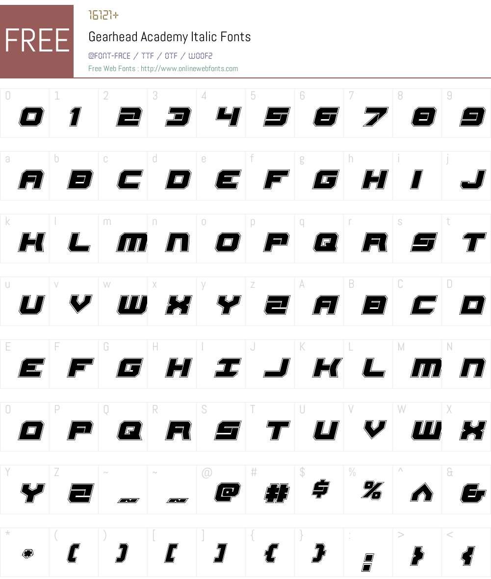 Gearhead Academy Italic Font Screenshots