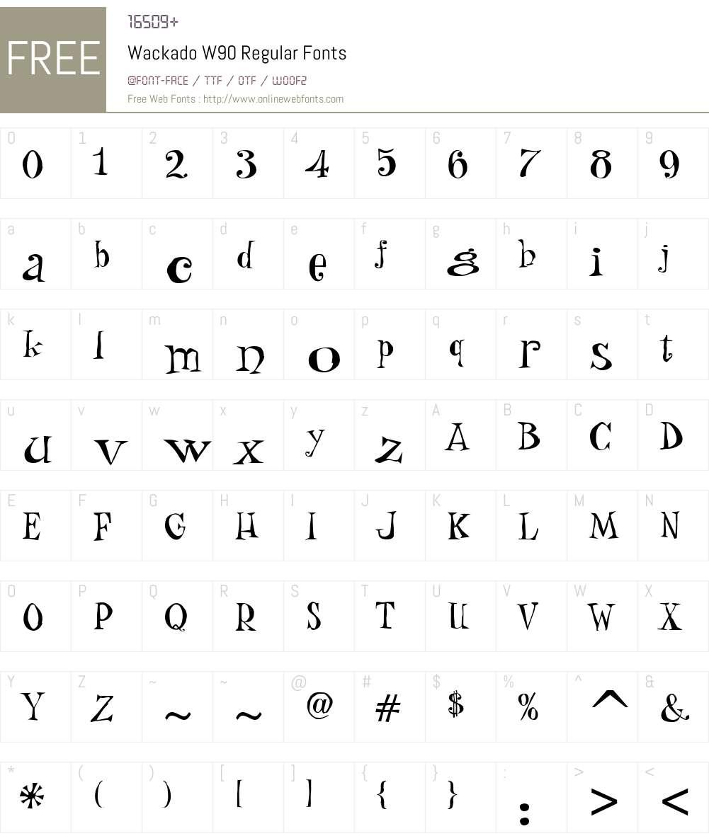 WackadoW90-Regular Font Screenshots