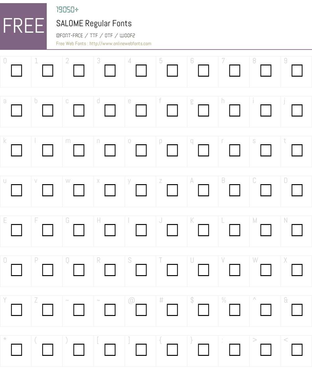 SALOME Font Screenshots