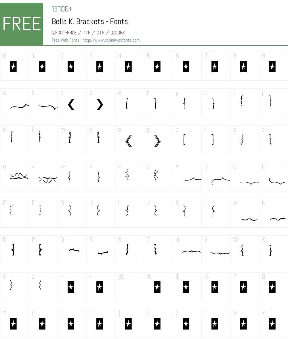 Bella K. Brackets Font Screenshots