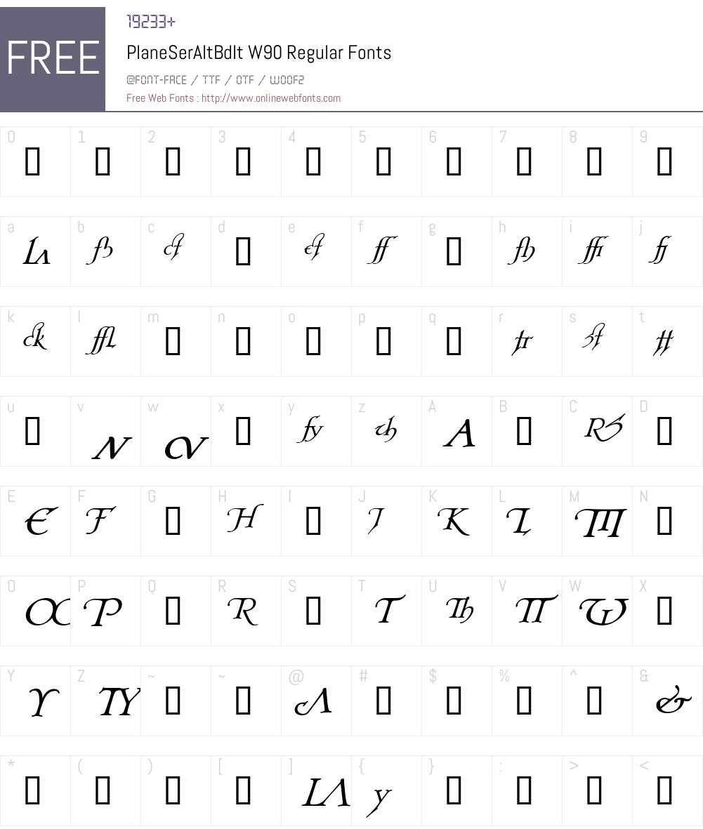 PlaneSerAltBdIt Font Screenshots