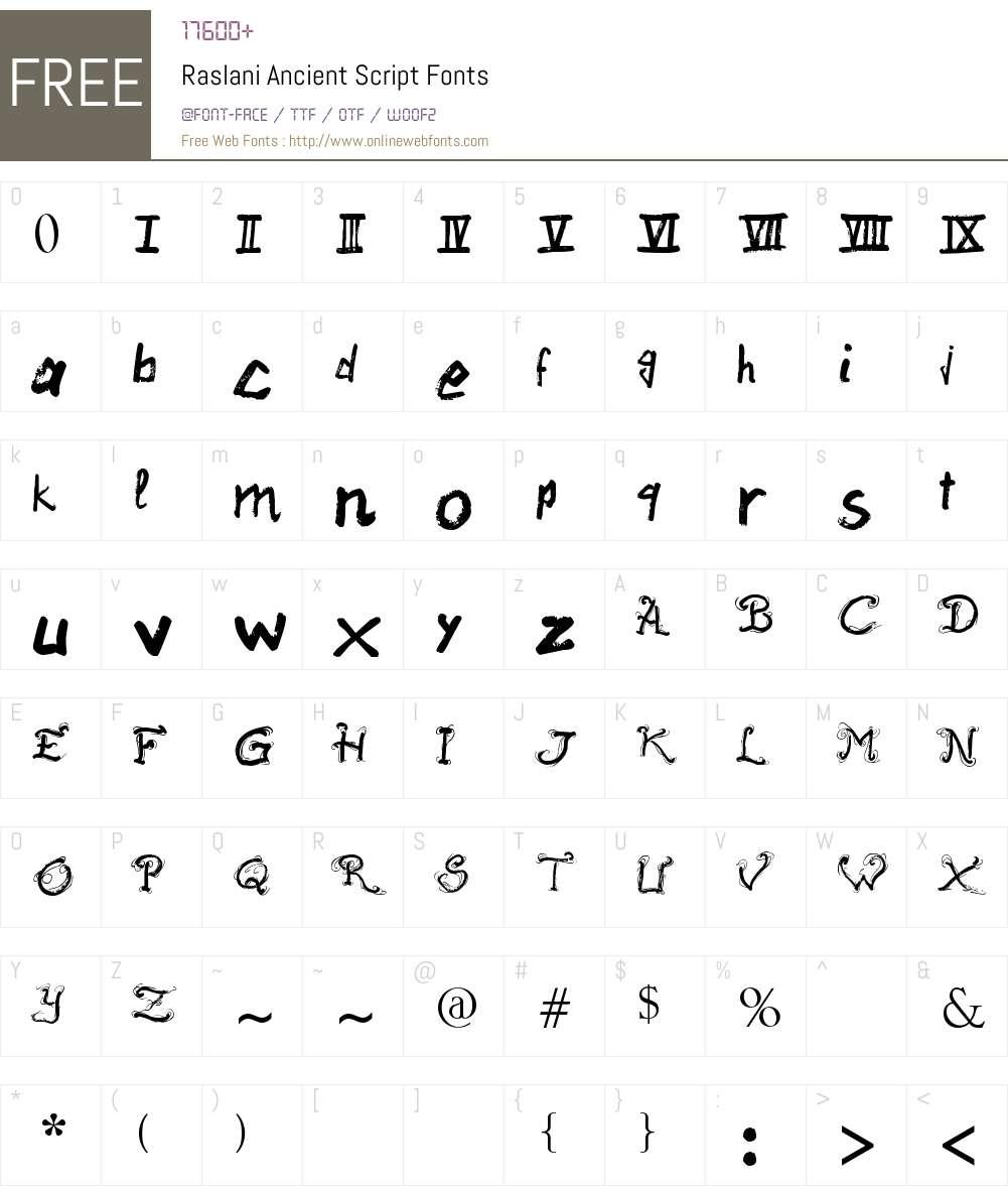 Raslani Ancient Script Font Screenshots