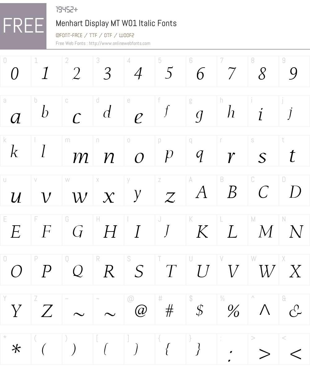 MenhartDisplayMTW01-Italic Font Screenshots