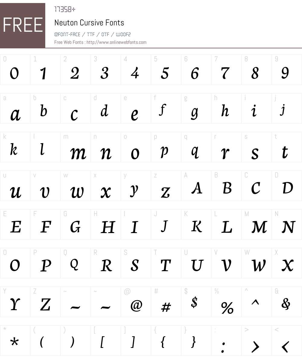 Neuton Cursive Font Screenshots