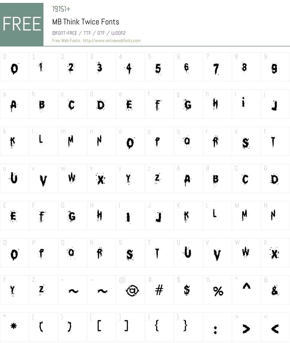 MB Think Twice Font Screenshots