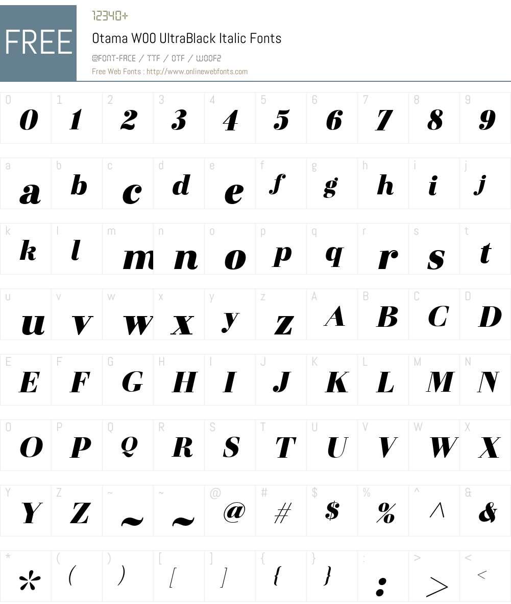 OtamaW00-UltraBlackItalic Font Screenshots