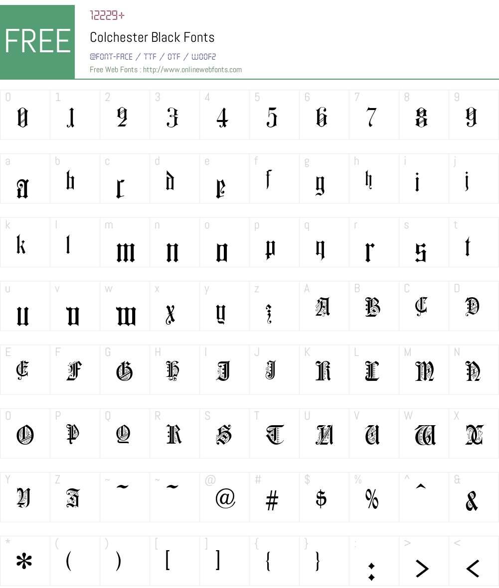 Colchester Font Screenshots