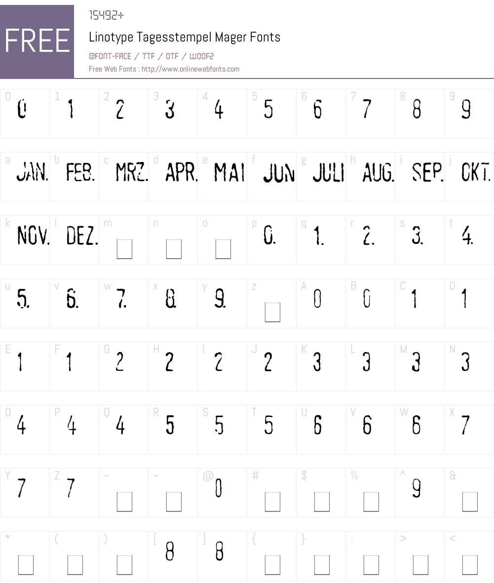 LTTagesstempel Mager Font Screenshots