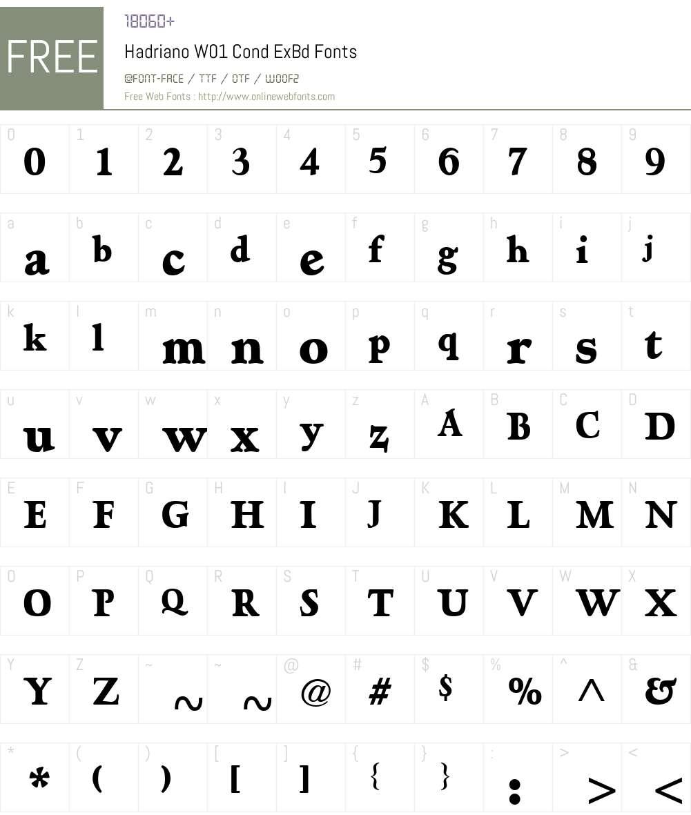 HadrianoW01-CondExBd Font Screenshots