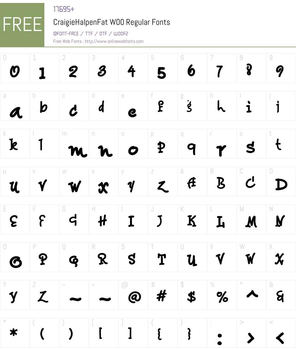 CraigieHalpenFatW00-Regular Font Screenshots