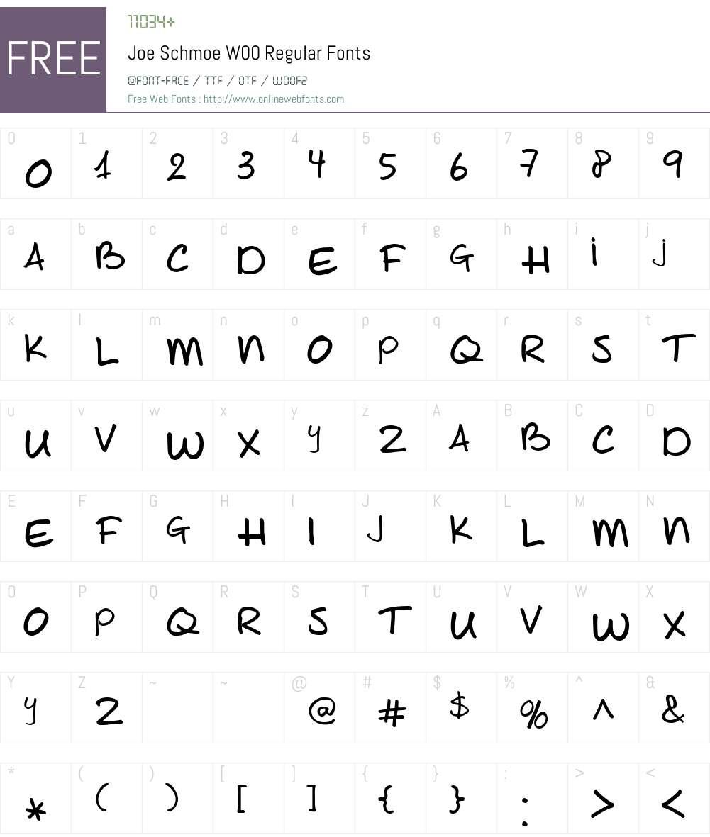 JoeSchmoeW00-Regular Font Screenshots