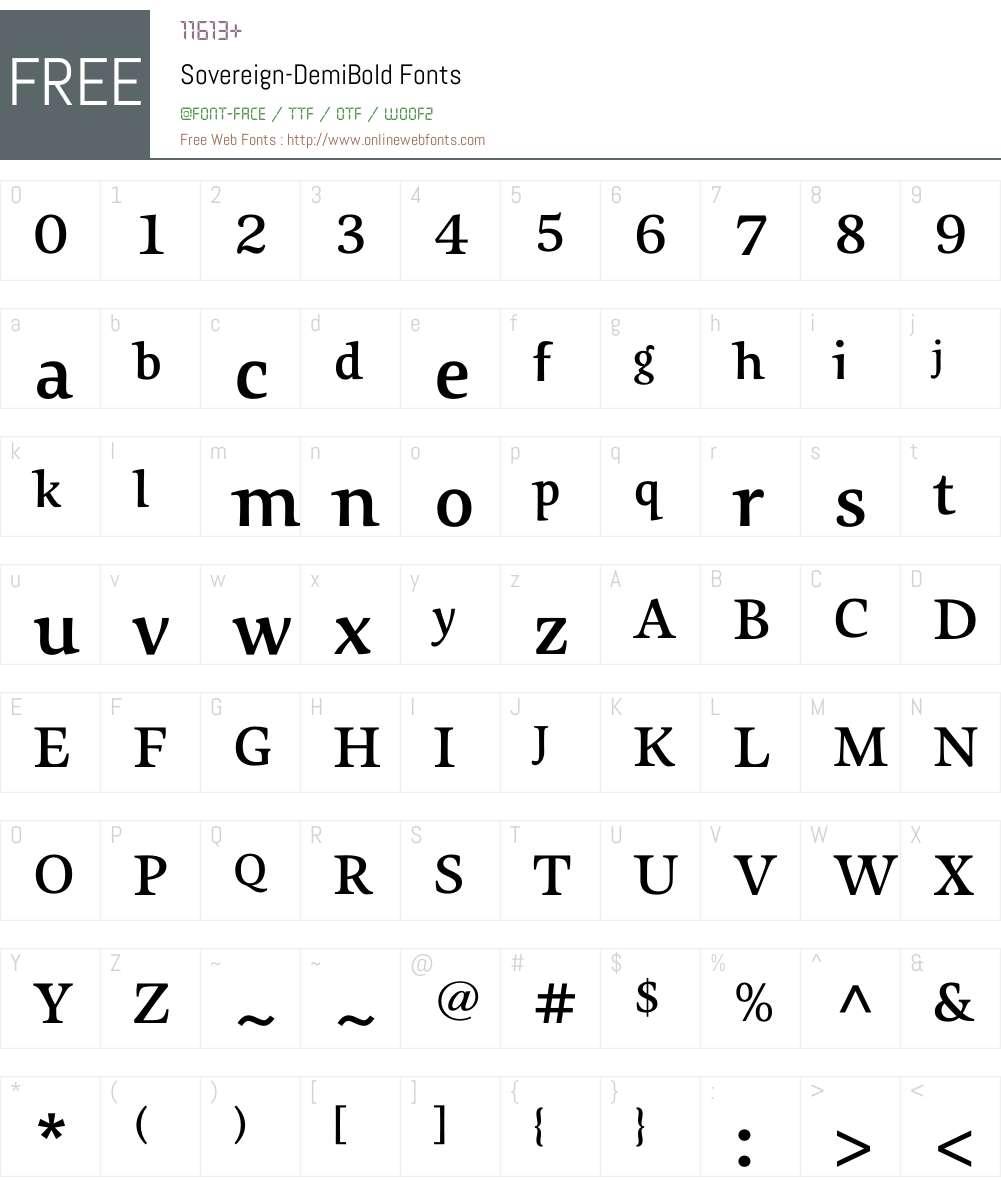 Sovereign-DemiBold Font Screenshots