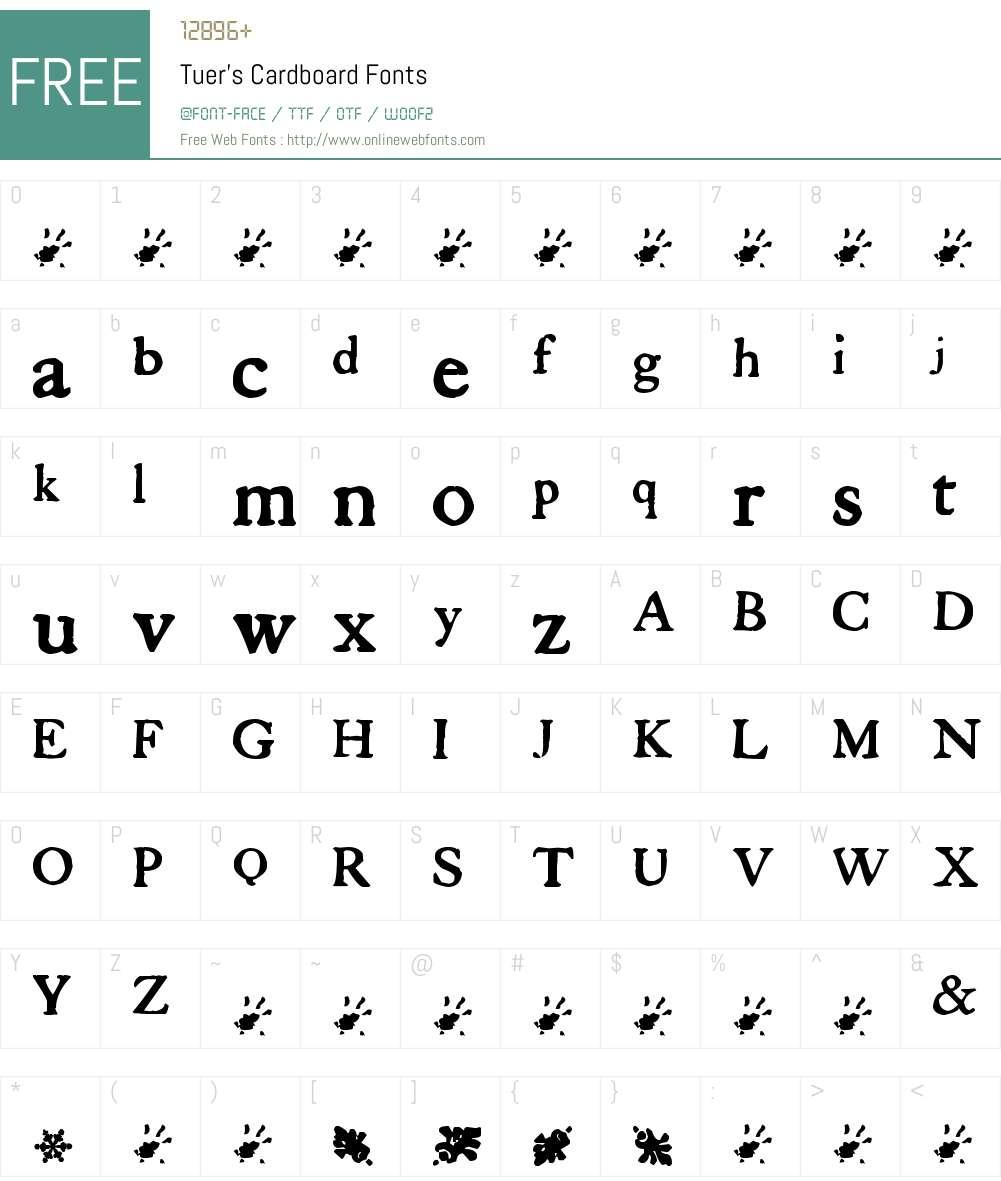 Tuer's Cardboard Font Screenshots