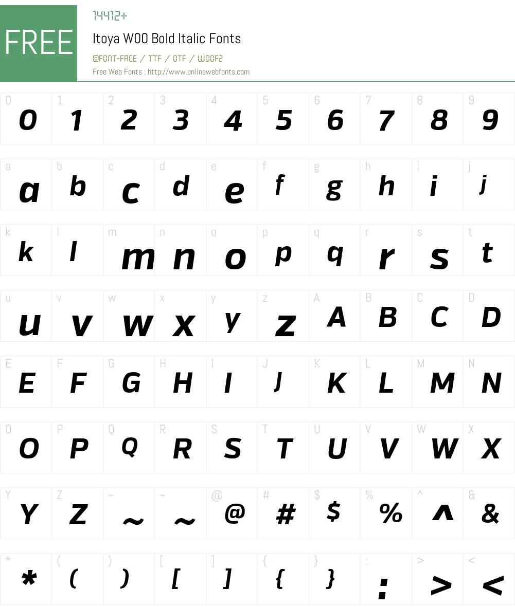 ItoyaW00-BoldItalic Font Screenshots