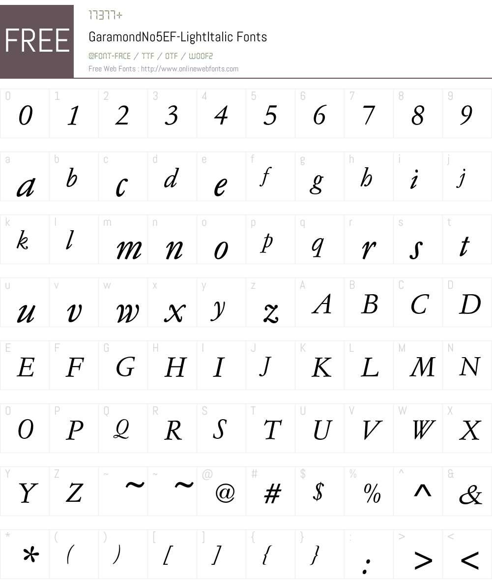 GaramondNo5EF-LightItalic Font Screenshots