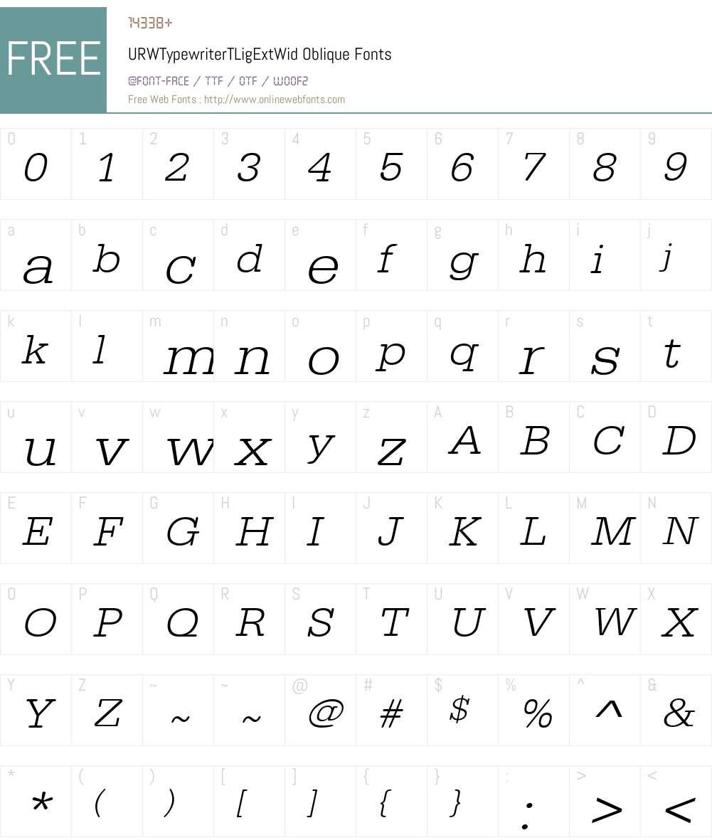 URWTypewriterTLigExtWid Font Screenshots