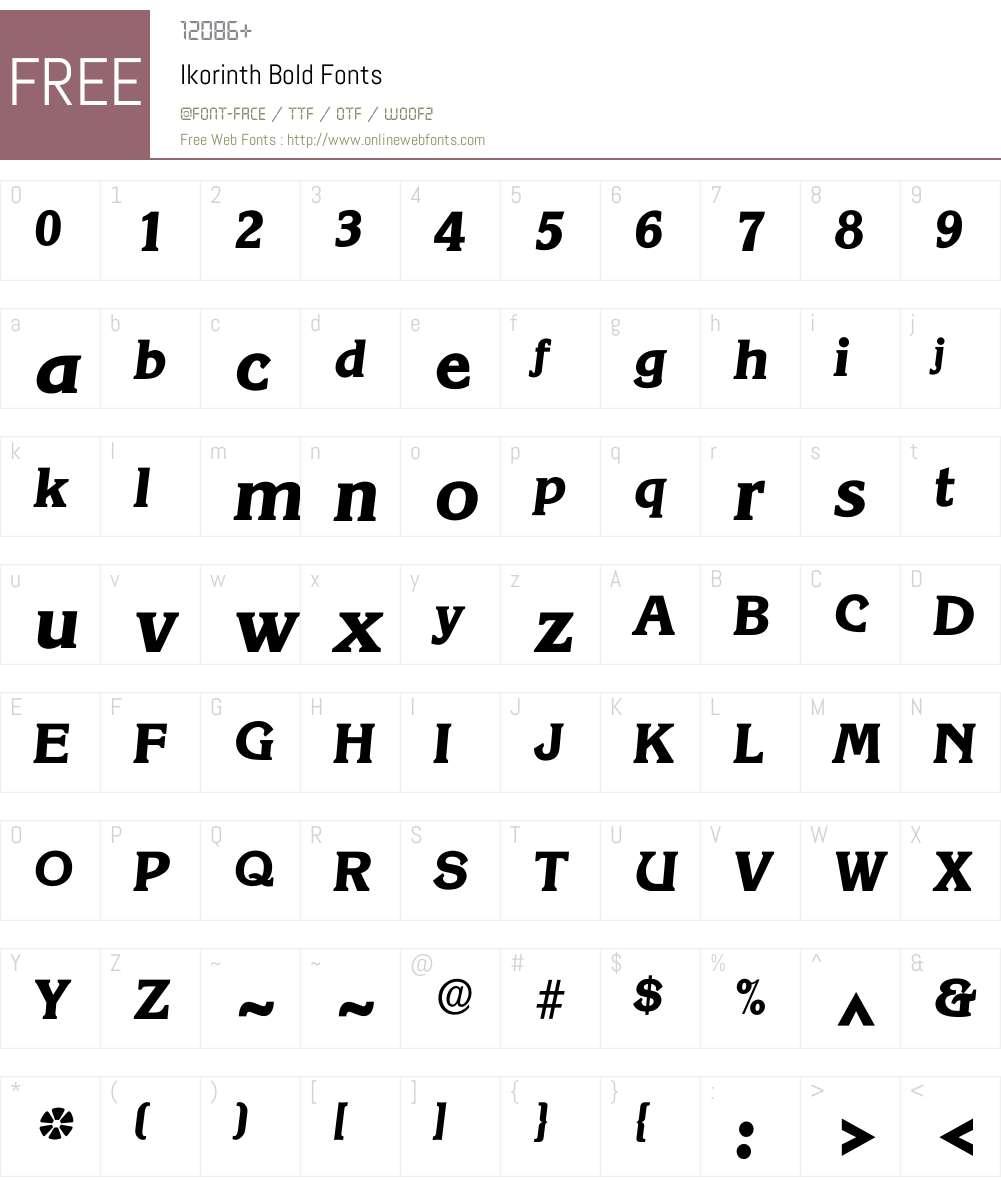 Ikorinth Font Screenshots
