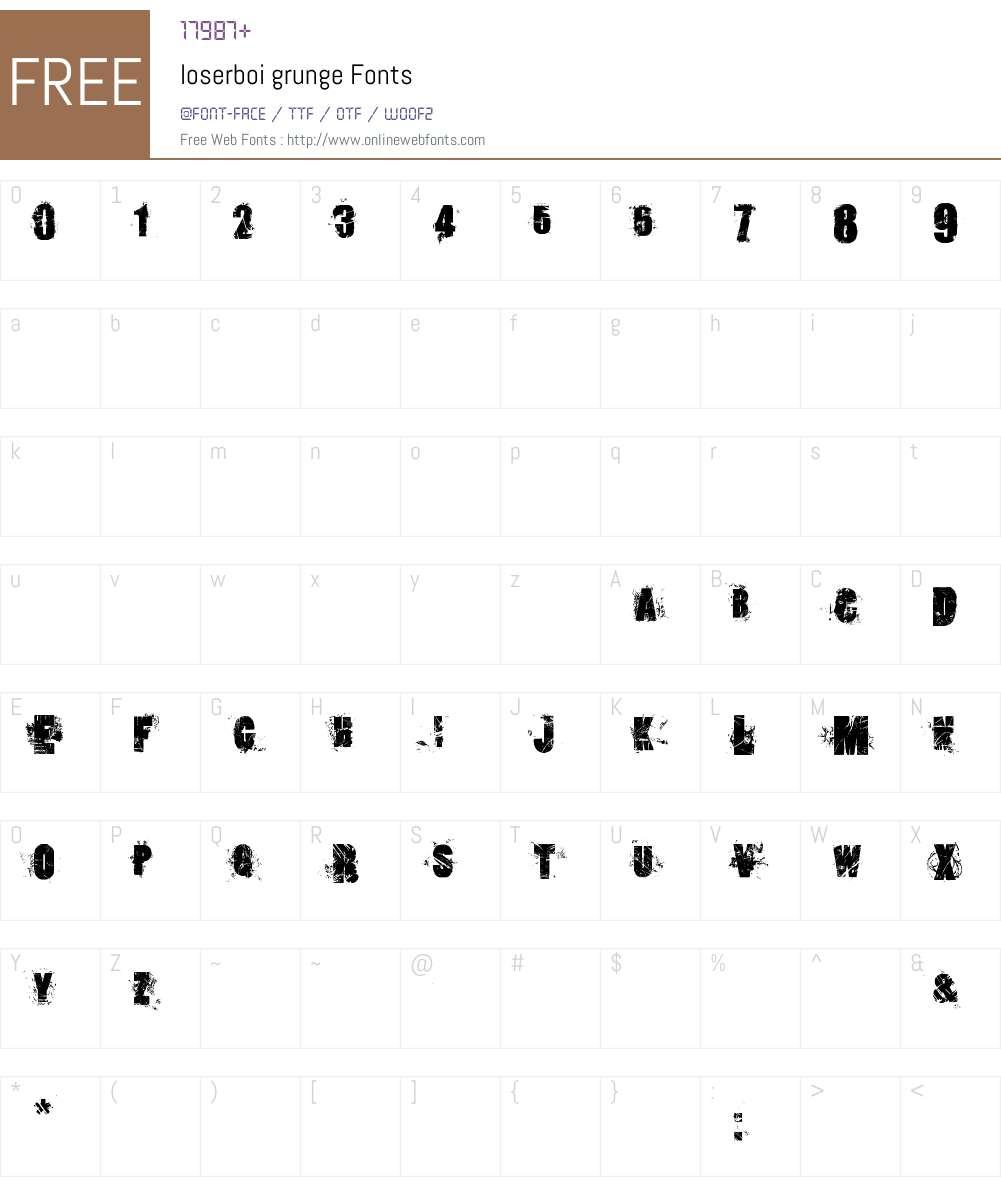 loserboi grunge Font Screenshots